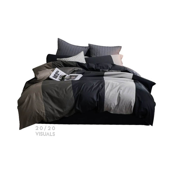 Color Block Duvet Set (4Pcs Set)