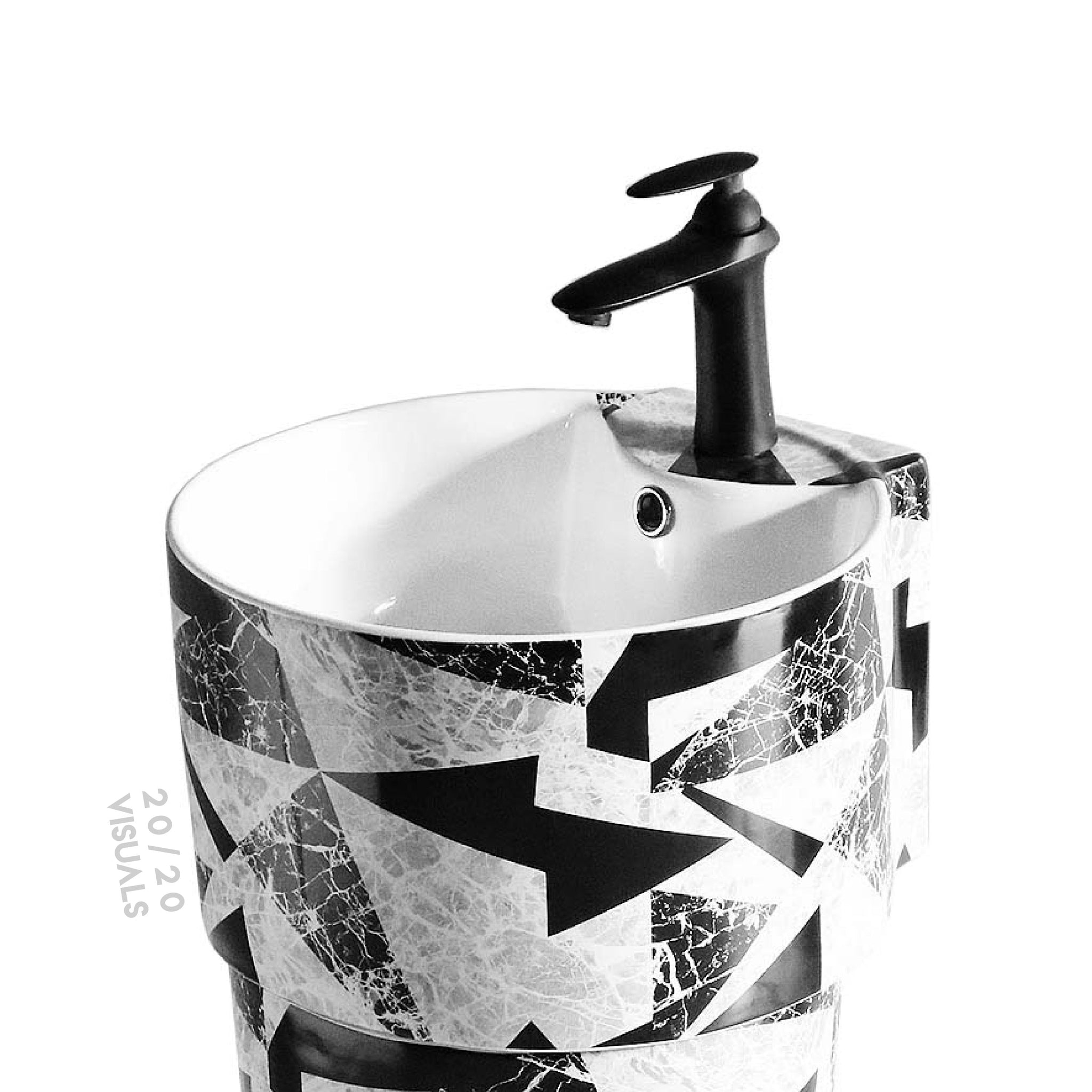 Graphic Print Pedestal Sink