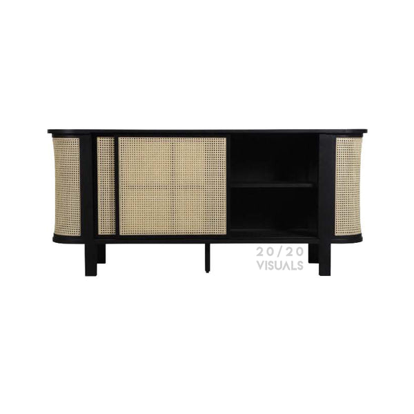 Rattan Sliding Door Storage Unit