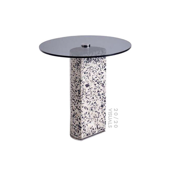 Terrazzo Glass-top Side Table