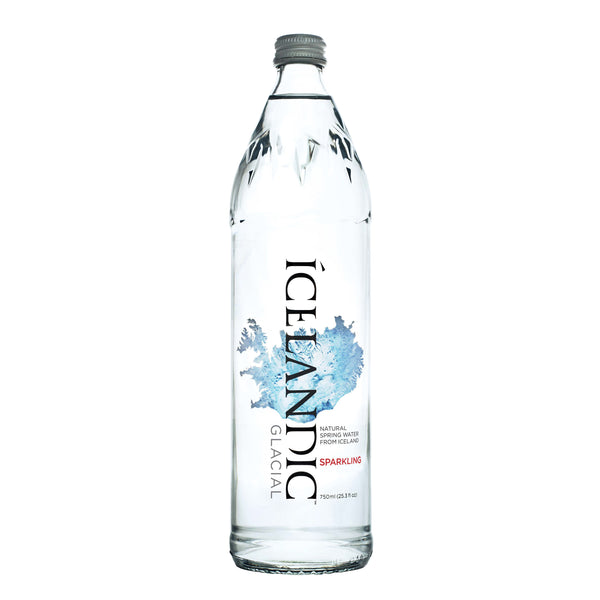 Icelandic Glacial Sparkling Water GLASS, 750ml , 12 Count