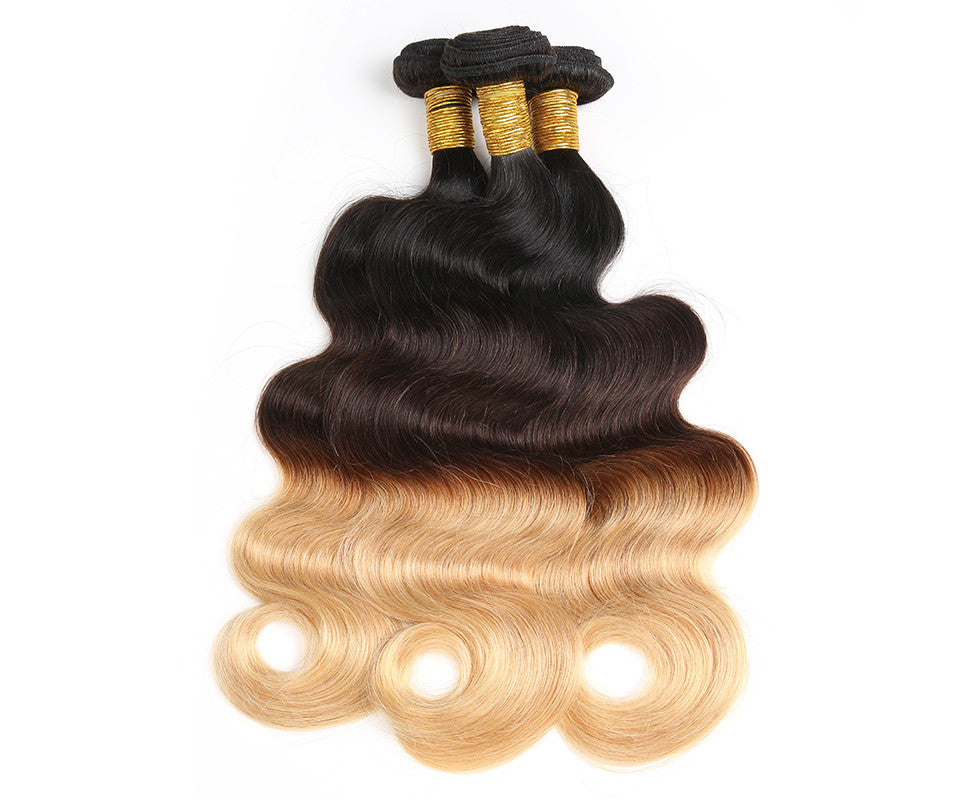 1b427 Three Tone Ombre Brazilian Human Hair Weave Body Wave Remy