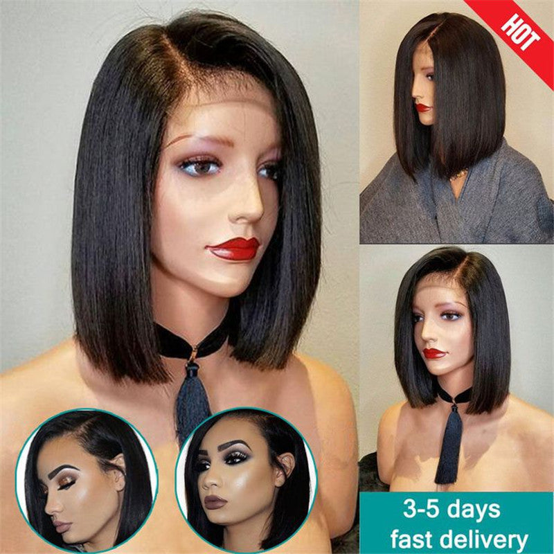 Short Bob Lace Front Human Hair Wigs For Black Women Full Lace Wig - Bob hairstyle wigs