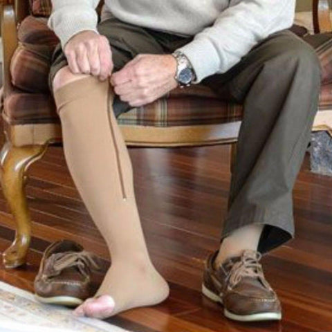 Socks - Zipper Compression Knee Stockings Open Toe Buy At Least 3 To Get Huge Discount