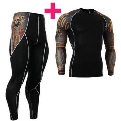 T-Shirts - Men 3D Prints Compression Shirts T-shirt Long Sleeves With Pants