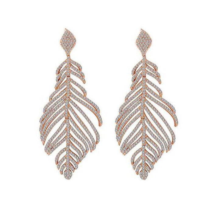 ZARA FEATHER DROP EARRINGS
