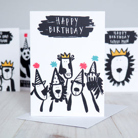 Animal Party Kid's Birthday Card