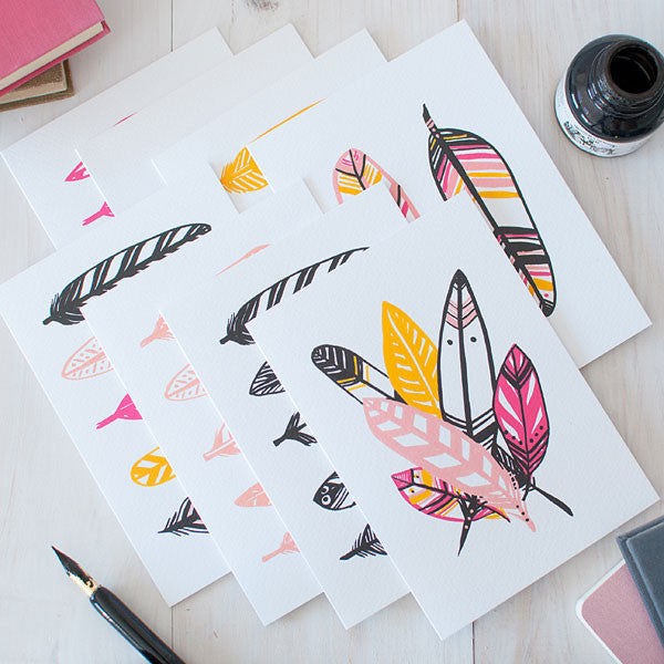 Ruffled Feathers Illustrated Notecard Set