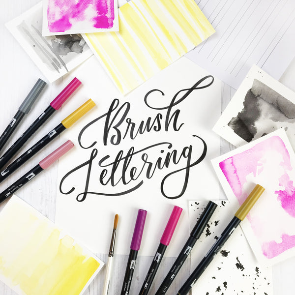 Downloadable Brush Lettering Italic Large Guidelines