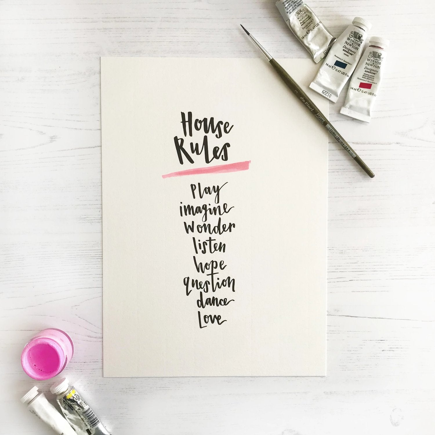 House Rules A4 Brush Lettered Wall Print