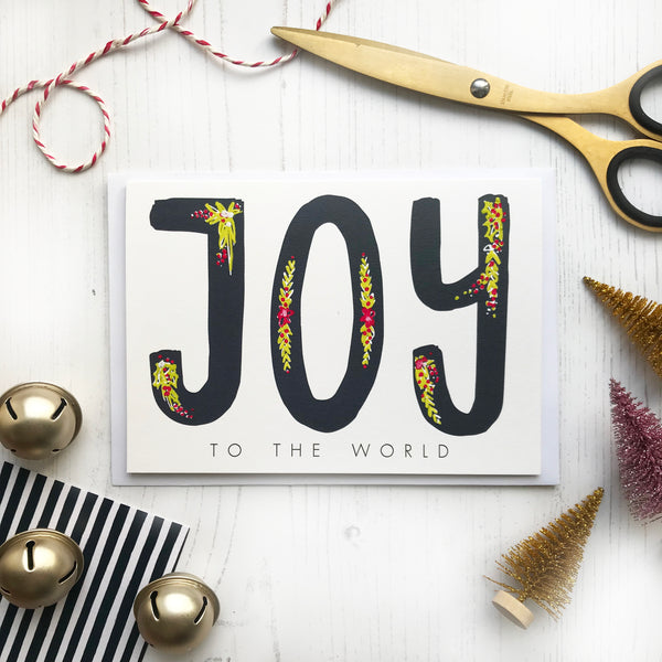 Hand Painted Joy To The World Christmas Card © Betty Etiquette 2018