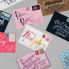 Brush lettered envelopes project from Brush Lettering © Rebecca Cahill Roots 2019