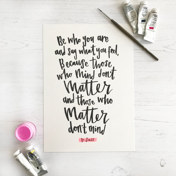 Dr Seuss Calligraphy Quote © Betty Etiquette 2018