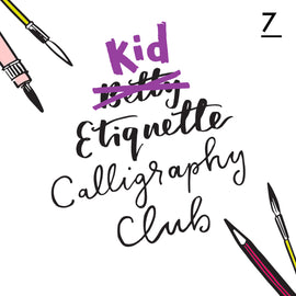 Betty Etiquette's Kid Etiquette Online Calligraphy Workshop Week Seven Printable Worksheet For Collage Calligraphy