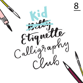 Betty Etiquette's Kid Etiquette Online Calligraphy Workshop Week Eight Printable Worksheet For Calligraphy Flourishes