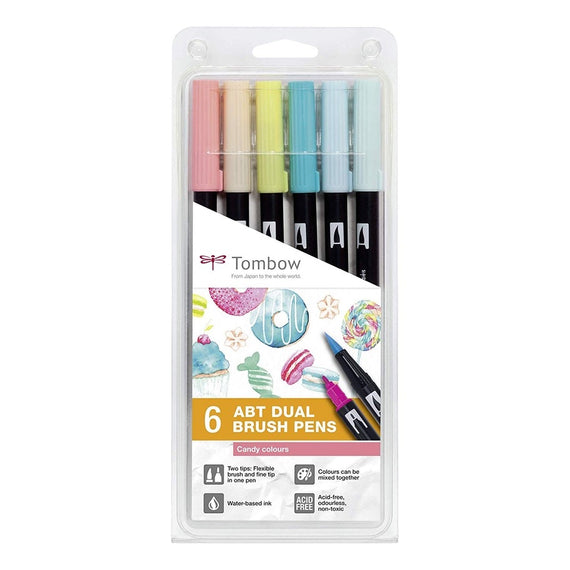 Tombow ABT Dual Brush Pens Candy Colours Set of 6