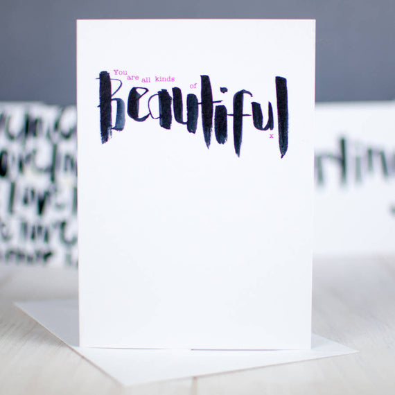 All Kinds Of Beautiful Brush Script Card