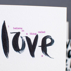 Believe In Love Brush Script Card
