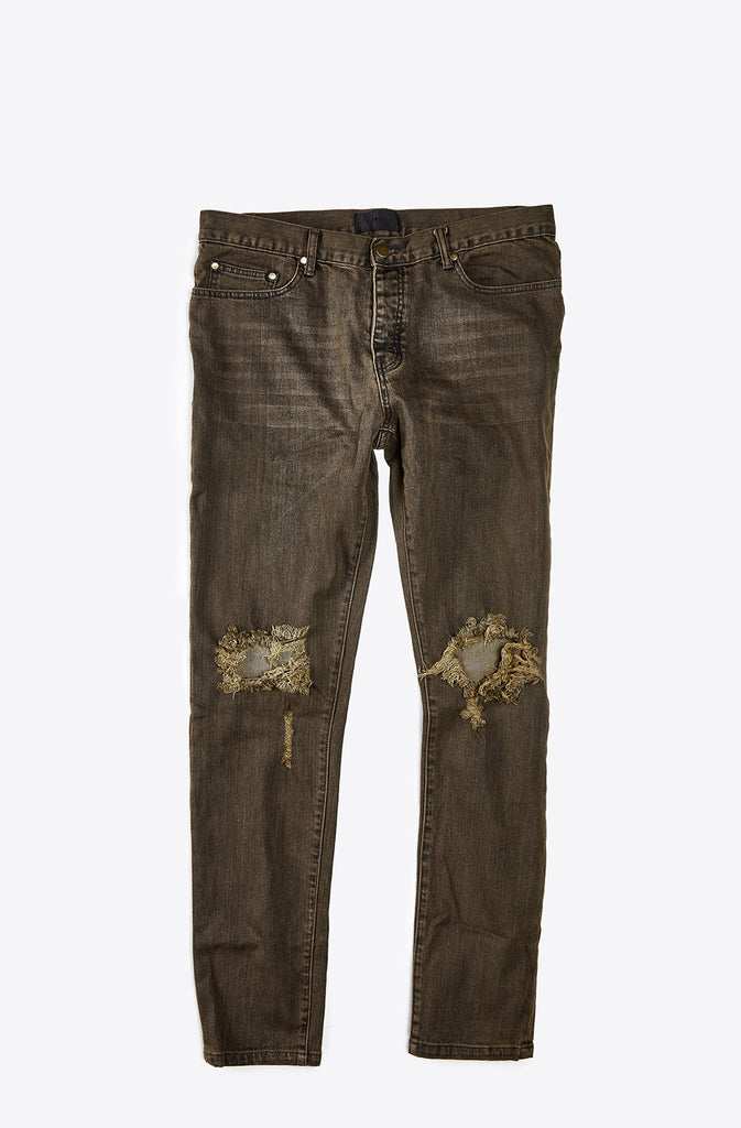 Clay Dyed Skinny-Fit Distressed Denim Jeans