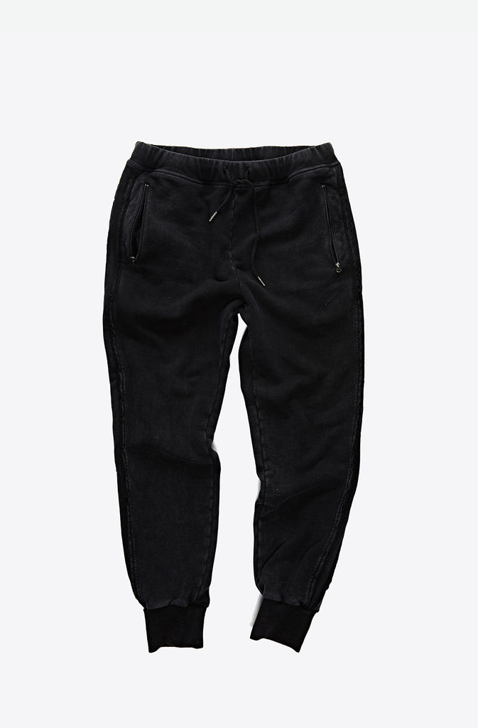 Black Washed Raw Side Detail Joggers