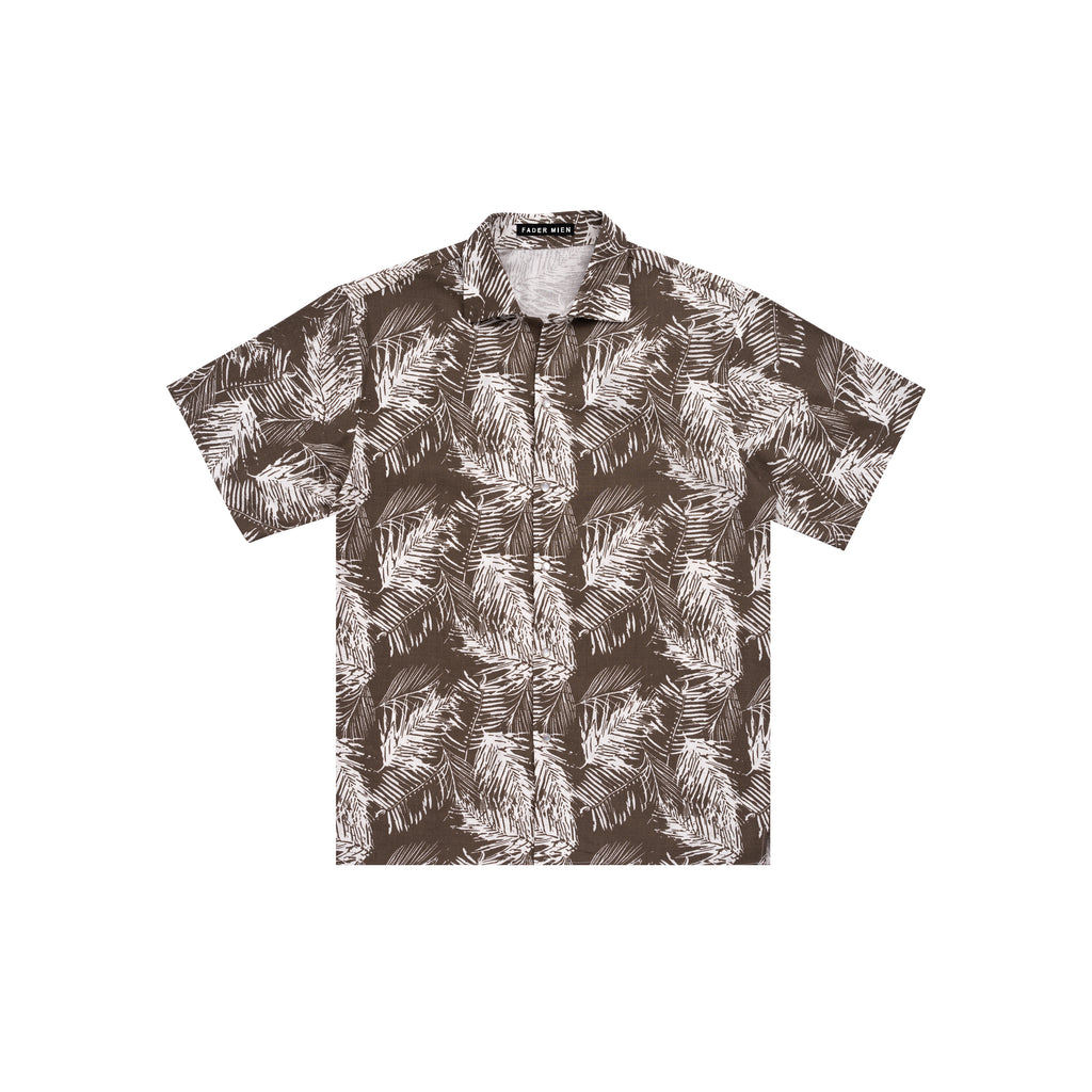 Grey White Areca Palm Bowling Shirt
