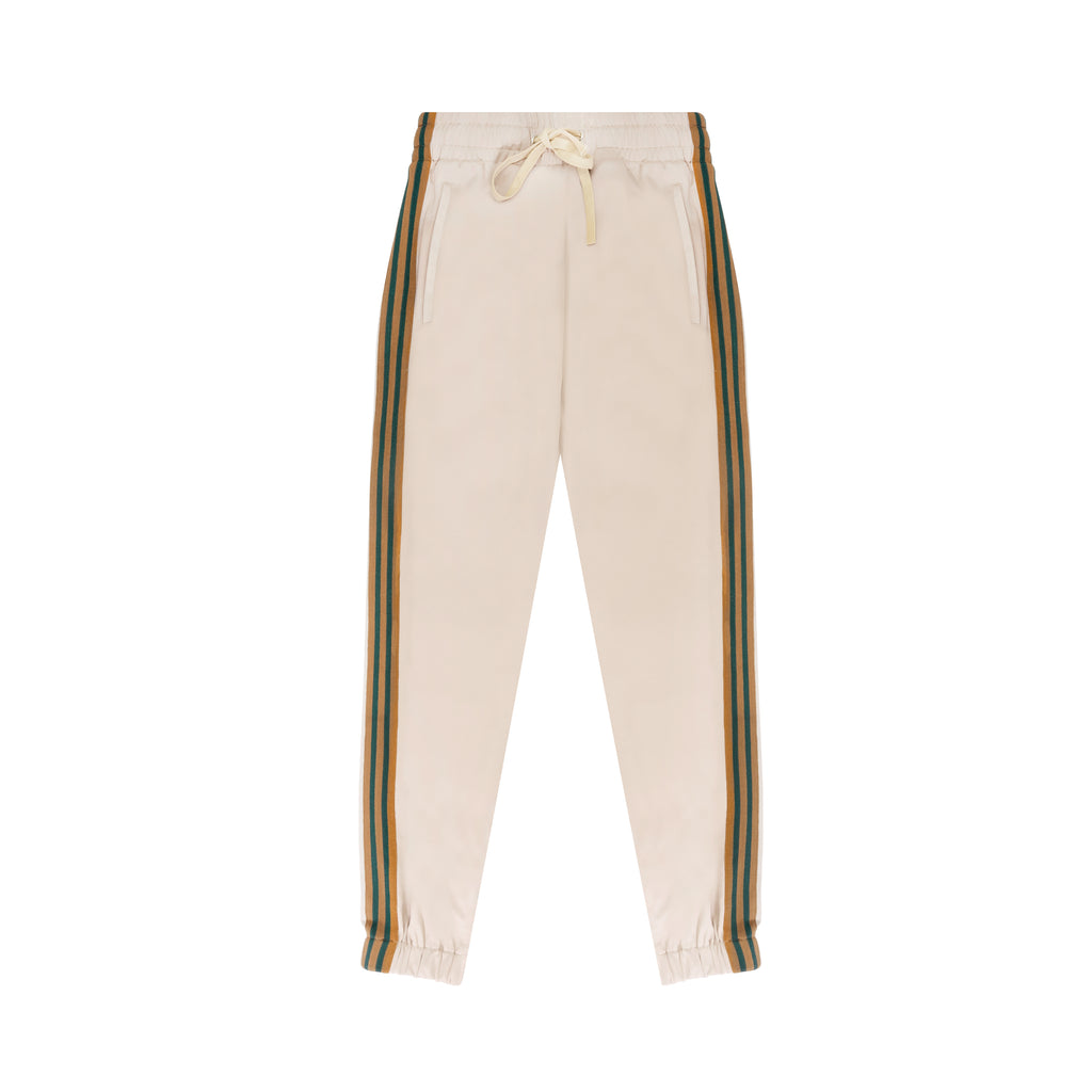 Beige Green Stripe Tapered Jogging Bottoms