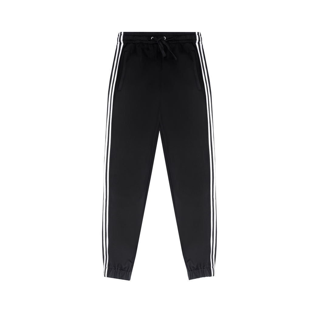 Black White Stripe Tapered Jogging Bottoms