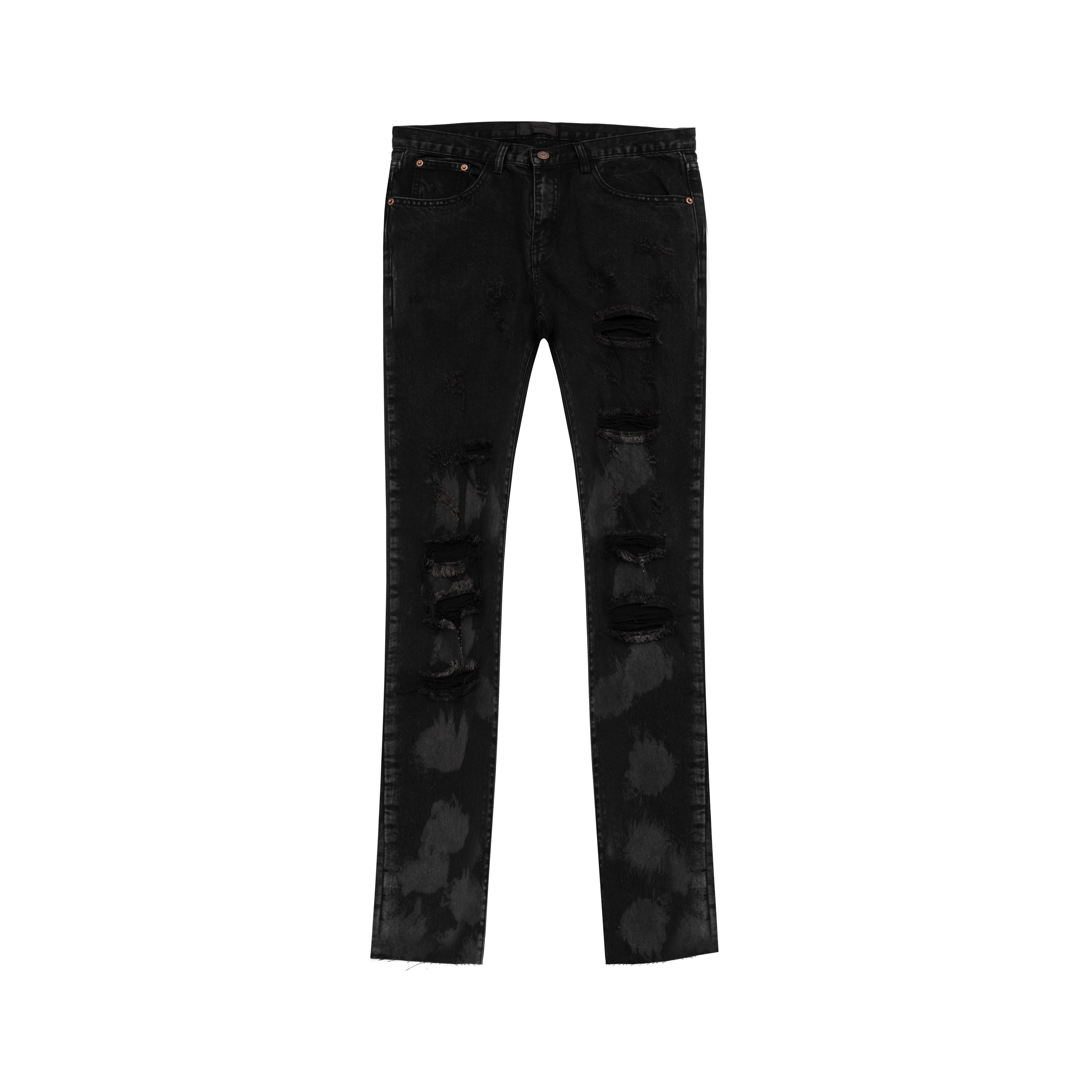 Stained Black Skinny-Fit Distressed Denim Jeans