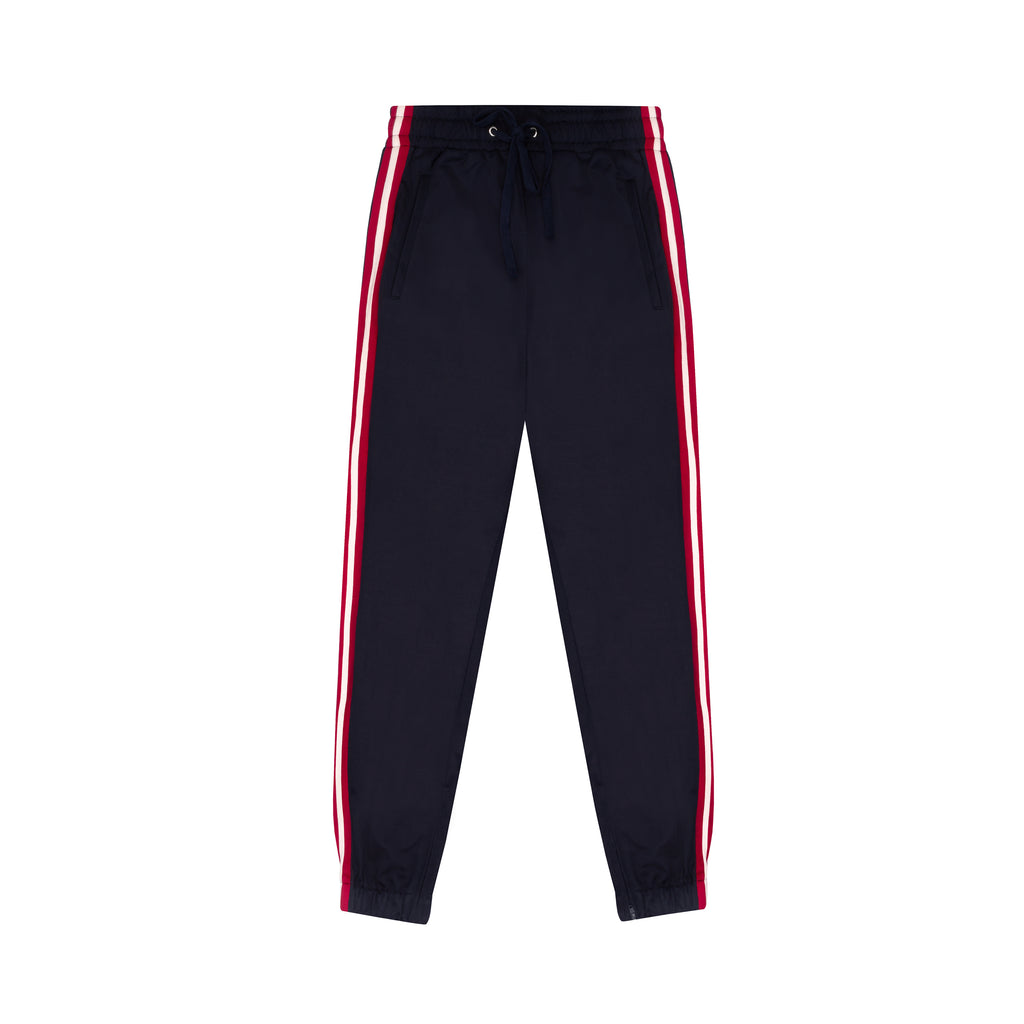 Navy Blue Red Stripe Tapered Jogging Bottoms