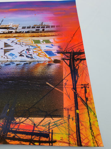 """Sunset"" Original Painting On LA River Giclee"