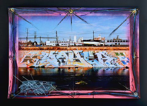 LA RIVER PIECE Hand painted Giclee 2
