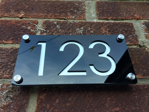 Engraved Acrylic Gloss Black Door Number Sign