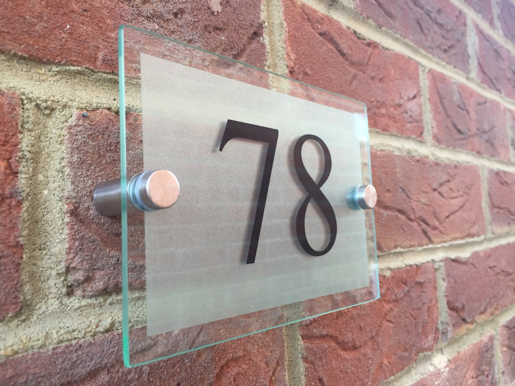 Glass Effect Door Number - Silver Frosted