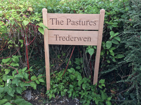 Solid Oak Custom Ladder Signs and Posts