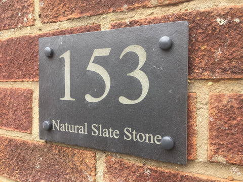 Slate engraved address sign