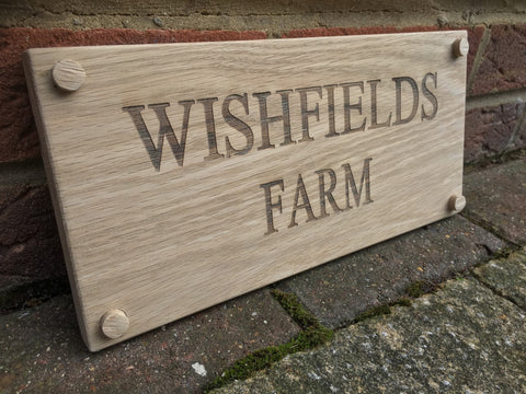 Large Solid Oak House Sign Address Plaque 300mm x 140mm