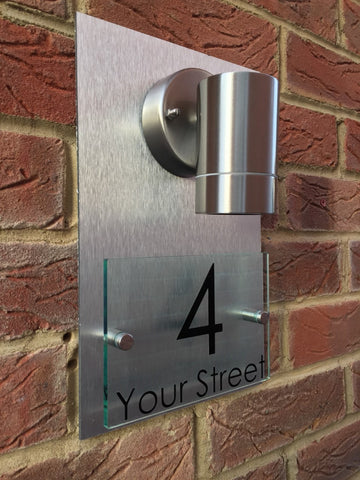 Glass Aluminium Effect Mains Powered House Sign