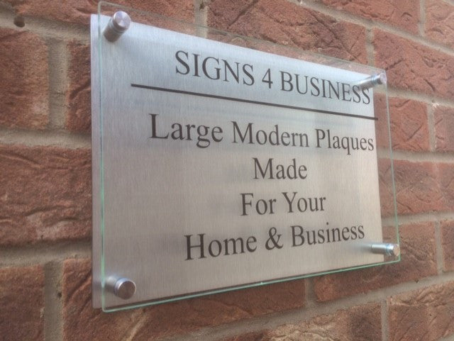Glass Aluminium Effect Business Commercial Sign Plaque A1 A6 Sizes