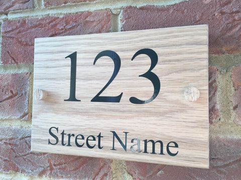 Solid Oak Door number and street House Sign Plaque 140mm x 200mm