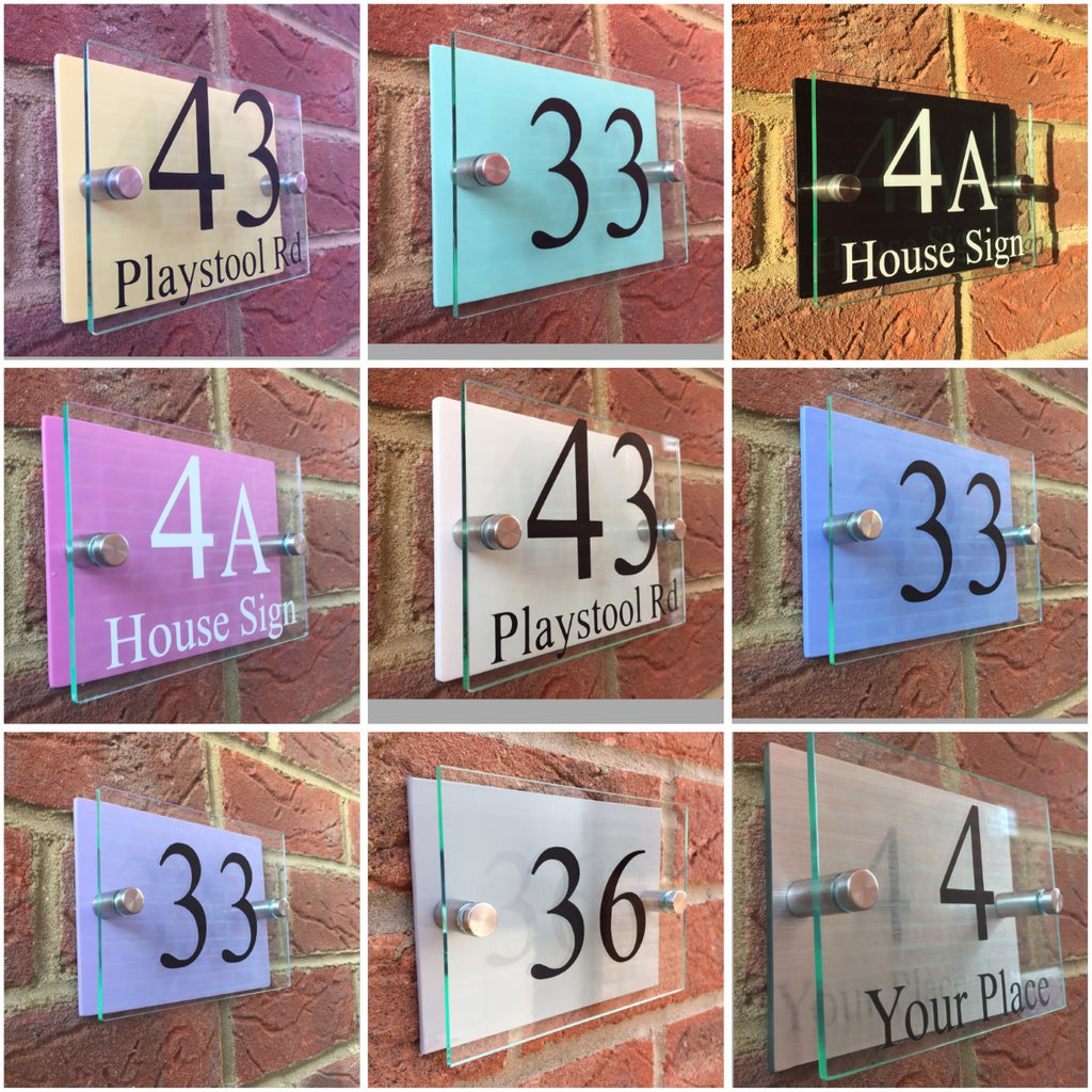 Modern glass acrylic pastel backing house signs