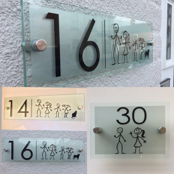 Stick Man Family Glass Acrylic Door Number Plaque - Your choice of Family members