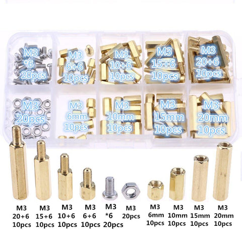 products/120pcs-M3-Male-Female-Brass-Spacer-Standoff-Screw-Nut-Assortment-Kit-Brass-M3-304-stainless-steel.jpg