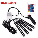 4Pcs Wireless Remote Music Voice Sound Control Car RGB LED Neon Interior Decorative Lights