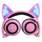 Wireless Bluetooth Cat Ear Headphones Foldable LED light Flashing Glowing Cat Earphone gift for kids