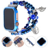 Blue Bling Crystal Case For Apple Watch Band 38/40/42mm Replacement Strap
