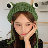 Winter Skullies Cute Women Frog Hat Crochet Knitted Beanie Hats