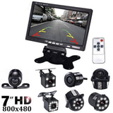 7 Inch LCD Color Display Screen Car Rear View DVD VCR Monitor With LED Lights Night Vision Backup Reverse Camera