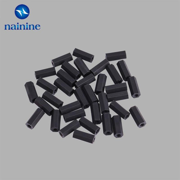 Color : Black, Size : 15mm YJZG 20//50pcs M2//M2.5//M3//M4L+6mm Thread Black or White Spacing Screw Plastic for PCB Motherboard Fixed Nylon Standoff Spacer Pillar