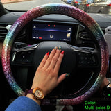 Luxury Bling Muti-Color Rainbow Car Steering Wheel Covers For Women-A45
