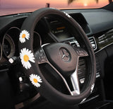 white-daisy-steering-wheel-cover-black